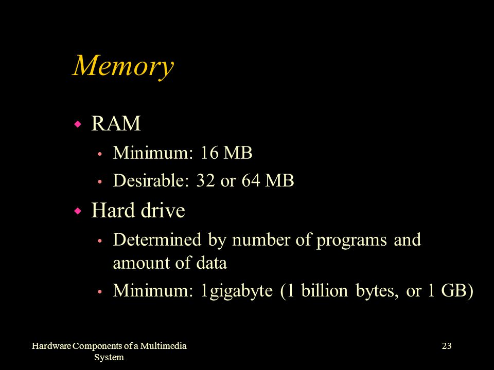 23Hardware Components of a Multimedia System Memory w RAM Minimum: 16 MB Desirable: 32 or 64 MB w Hard drive Determined by number of programs and amount of data Minimum: 1gigabyte (1 billion bytes, or 1 GB)