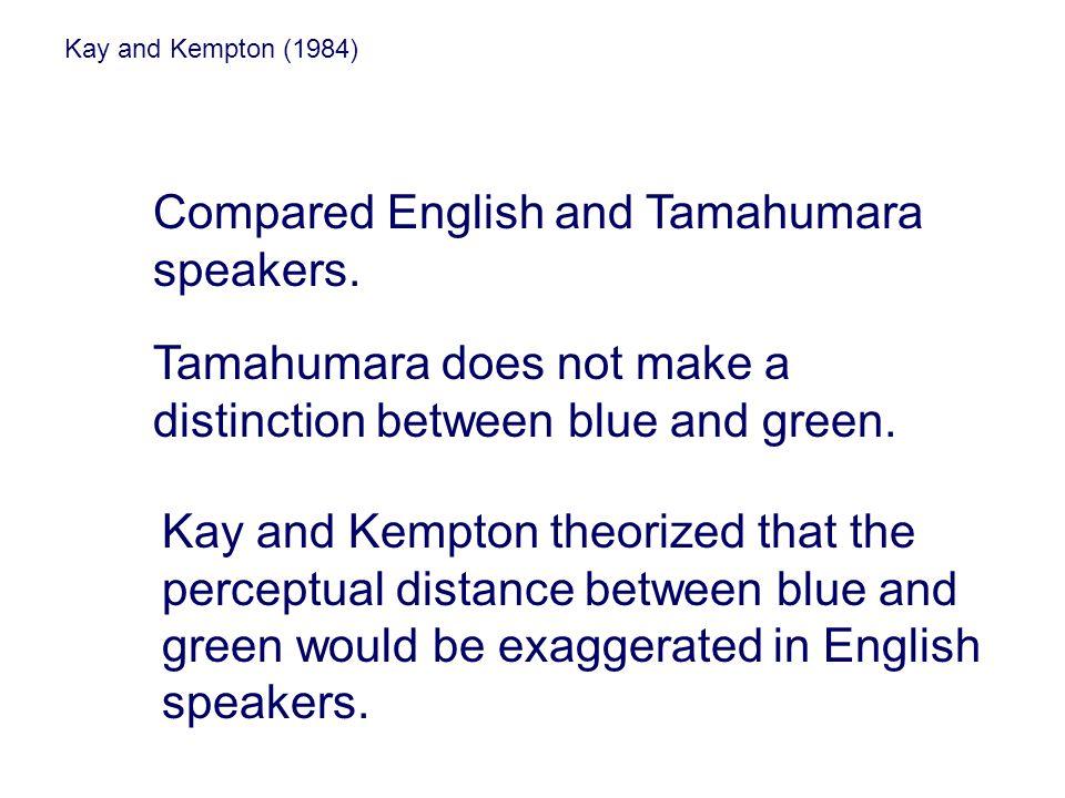 Kay and Kempton (1984) Compared English and Tamahumara speakers. Tamahumara does not make a distinction between blue and green. Kay and Kempton theori