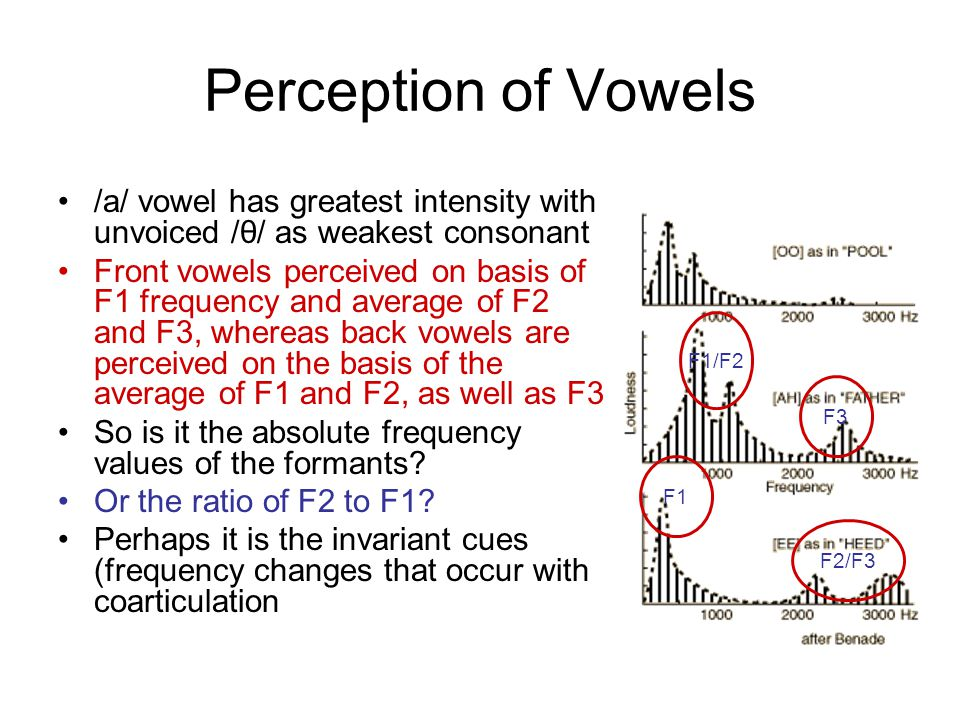 Perception of Vowels /a/ vowel has greatest intensity with unvoiced /θ/ as weakest consonant Front vowels perceived on basis of F1 frequency and average of F2 and F3, whereas back vowels are perceived on the basis of the average of F1 and F2, as well as F3 So is it the absolute frequency values of the formants.