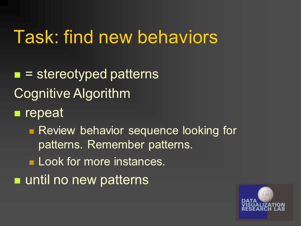 Task: find new behaviors = stereotyped patterns Cognitive Algorithm repeat Review behavior sequence looking for patterns. Remember patterns. Look for