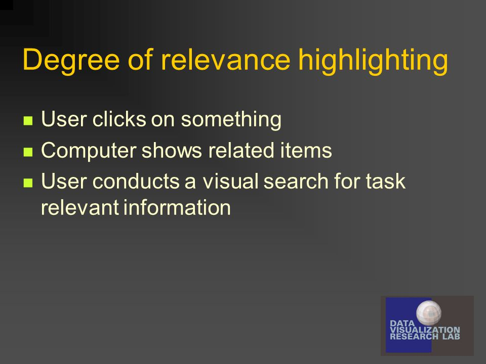 Degree of relevance highlighting User clicks on something Computer shows related items User conducts a visual search for task relevant information