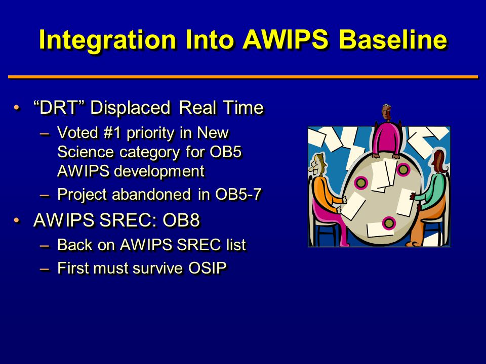 Integration Into AWIPS Baseline DRT Displaced Real Time DRT Displaced Real Time –Voted #1 priority in New Science category for OB5 AWIPS development –Project abandoned in OB5-7 AWIPS SREC: OB8AWIPS SREC: OB8 –Back on AWIPS SREC list –First must survive OSIP DRT Displaced Real Time DRT Displaced Real Time –Voted #1 priority in New Science category for OB5 AWIPS development –Project abandoned in OB5-7 AWIPS SREC: OB8AWIPS SREC: OB8 –Back on AWIPS SREC list –First must survive OSIP
