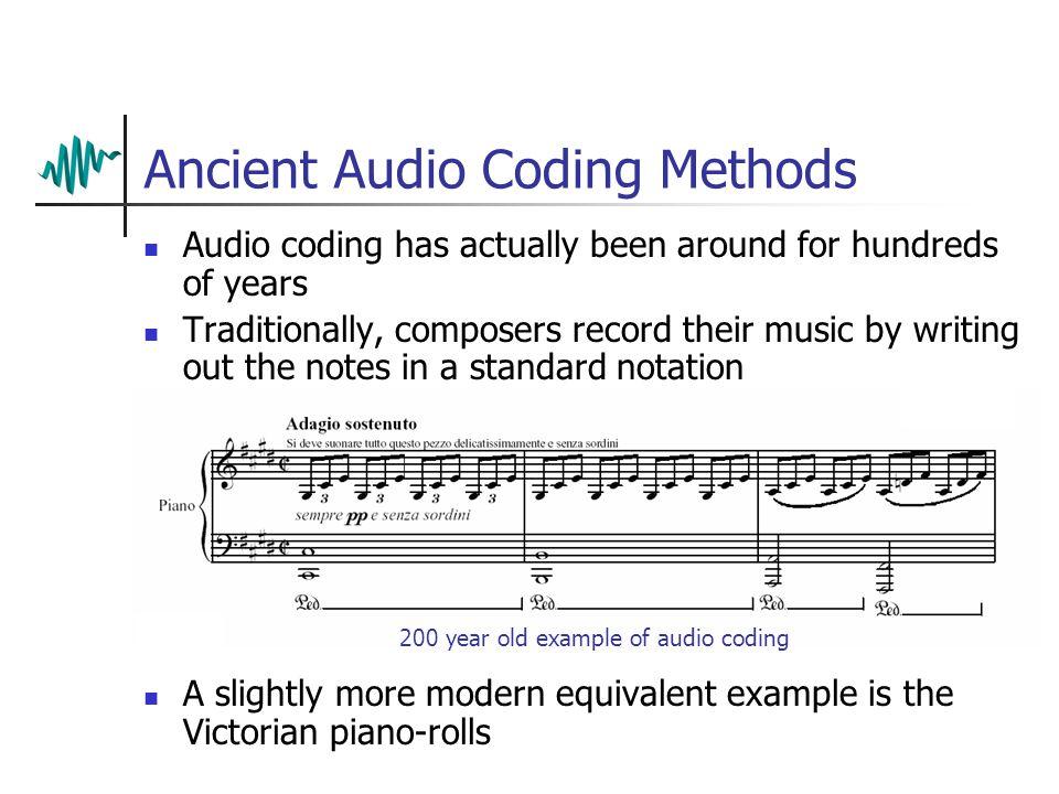 Digital Audio Coding – Dr. T. Collins Standard MIDI Files Perceptual Audio Coding MPEG-1 layers 1, 2 & 3 MPEG-4