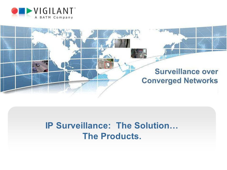 IP Surveillance: The Solution… The Products.