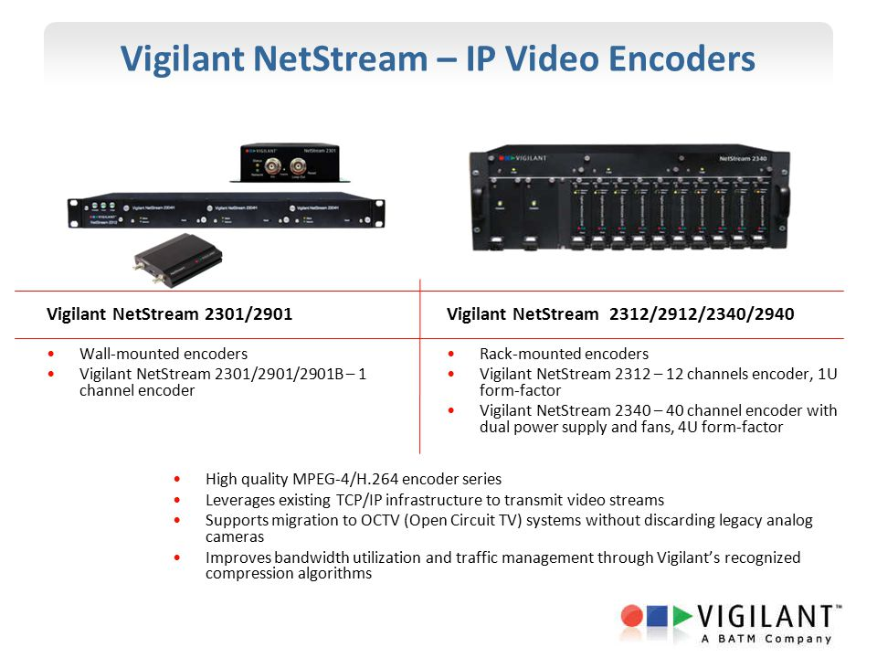 Vigilant NetStream – IP Video Encoders Vigilant NetStream 2301/2901 Wall-mounted encoders Vigilant NetStream 2301/2901/2901B – 1 channel encoder High quality MPEG-4/H.264 encoder series Leverages existing TCP/IP infrastructure to transmit video streams Supports migration to OCTV (Open Circuit TV) systems without discarding legacy analog cameras Improves bandwidth utilization and traffic management through Vigilant's recognized compression algorithms Vigilant NetStream 2312/2912/2340/2940 Rack-mounted encoders Vigilant NetStream 2312 – 12 channels encoder, 1U form-factor Vigilant NetStream 2340 – 40 channel encoder with dual power supply and fans, 4U form-factor