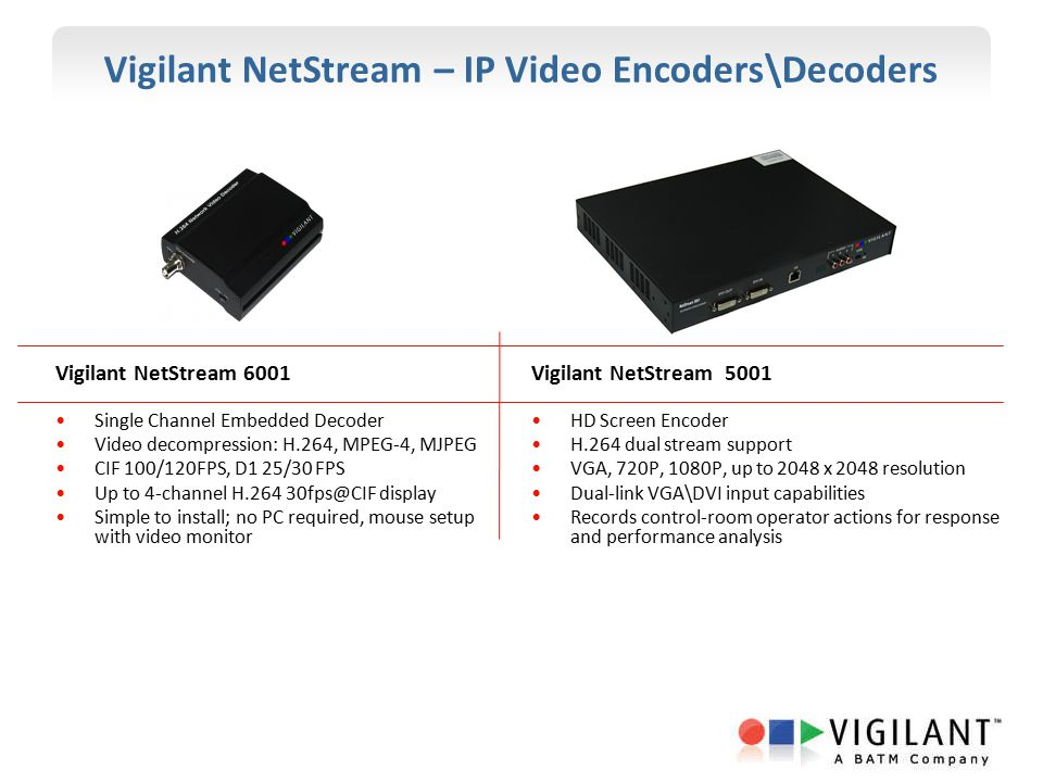 Vigilant NetStream – IP Video Encoders\Decoders Vigilant NetStream 6001 Single Channel Embedded Decoder Video decompression: H.264, MPEG-4, MJPEG CIF 100/120FPS, D1 25/30 FPS Up to 4-channel H.264 30fps@CIF display Simple to install; no PC required, mouse setup with video monitor Vigilant NetStream 5001 HD Screen Encoder H.264 dual stream support VGA, 720P, 1080P, up to 2048 x 2048 resolution Dual-link VGA\DVI input capabilities Records control-room operator actions for response and performance analysis