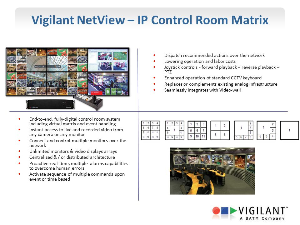 Vigilant NetView – IP Control Room Matrix End-to-end, fully-digital control room system including virtual matrix and event handling Instant access to