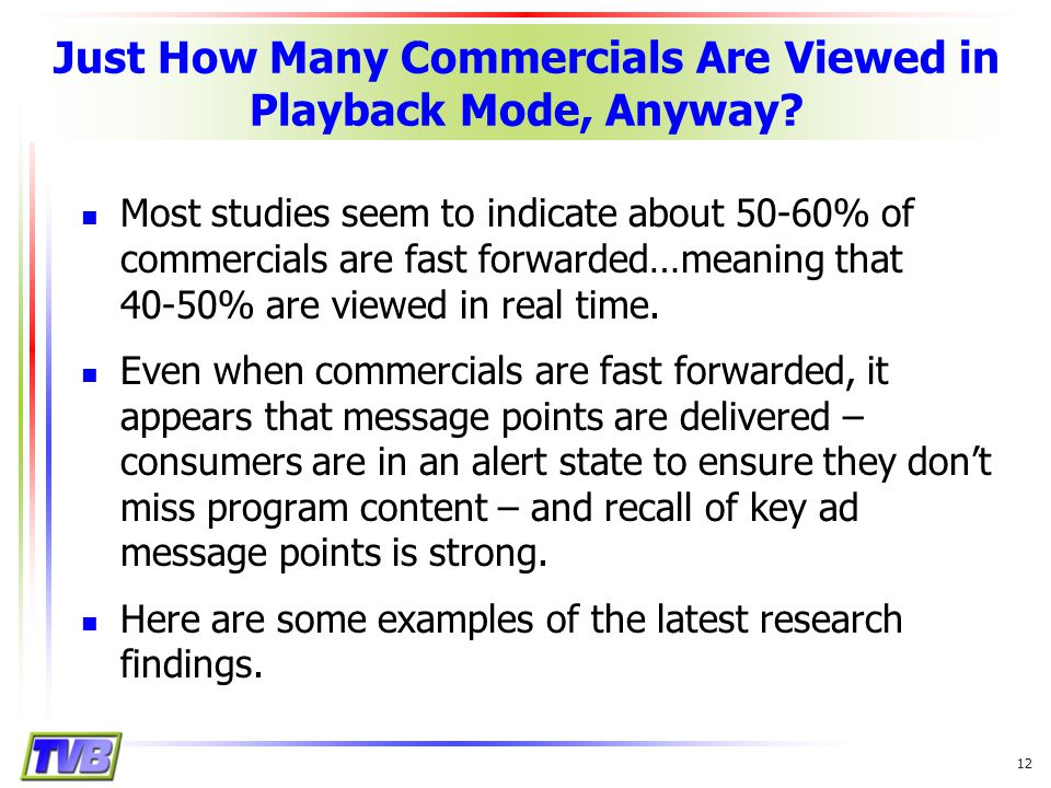 12 Just How Many Commercials Are Viewed in Playback Mode, Anyway.