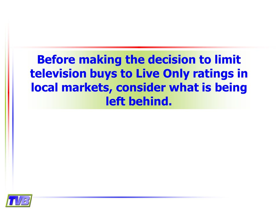 23 Do C3 Ratings = Live Only Program Ratings.