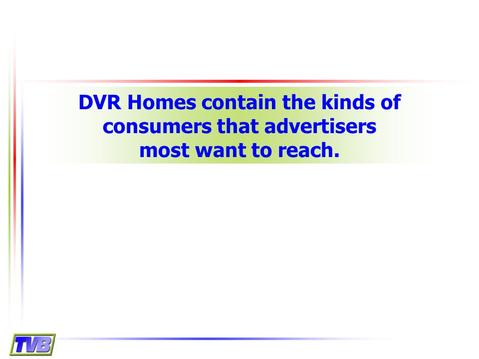 DVR Homes contain the kinds of consumers that advertisers most want to reach.