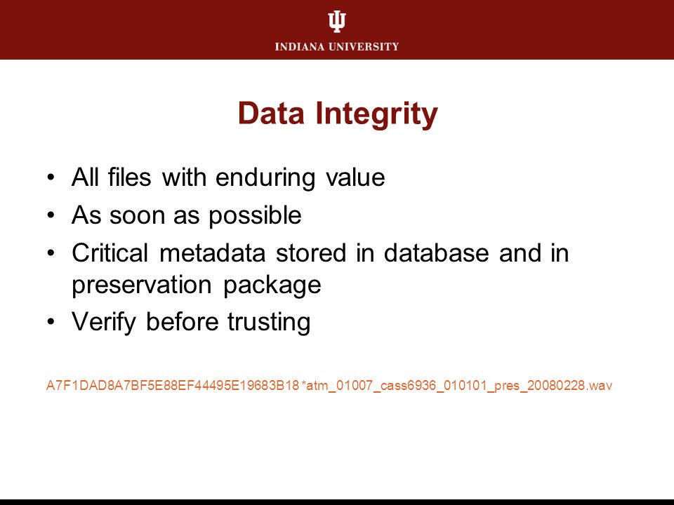 Data Integrity All files with enduring value As soon as possible Critical metadata stored in database and in preservation package Verify before trusti