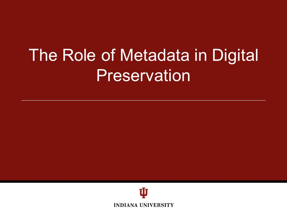 The Role of Metadata in Digital Preservation