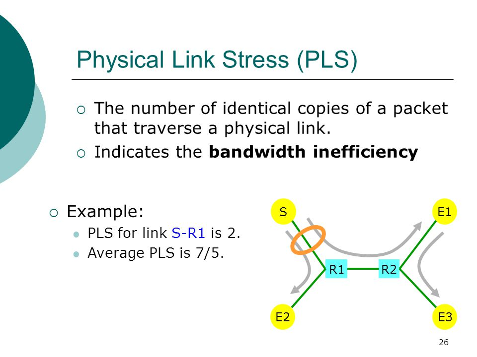 26 Physical Link Stress (PLS)  The number of identical copies of a packet that traverse a physical link.