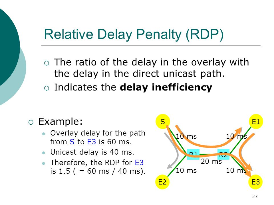 27 Relative Delay Penalty (RDP)  The ratio of the delay in the overlay with the delay in the direct unicast path.