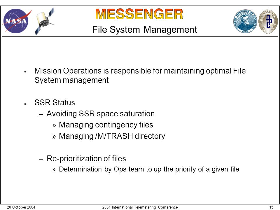 20 October 2004152004 International Telemetering Conference File System Management » Mission Operations is responsible for maintaining optimal File System management » SSR Status –Avoiding SSR space saturation »Managing contingency files »Managing /M/TRASH directory –Re-prioritization of files »Determination by Ops team to up the priority of a given file