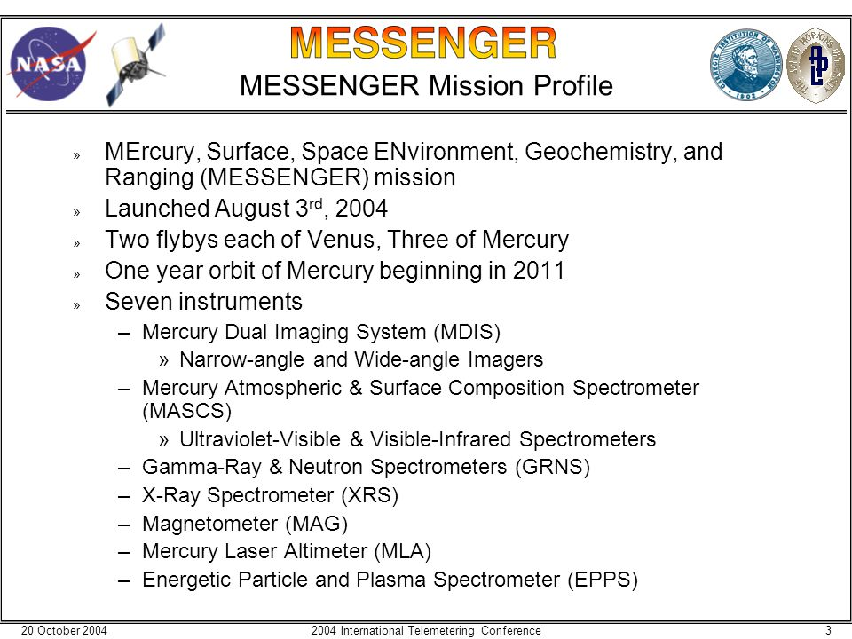 20 October 200432004 International Telemetering Conference MESSENGER Mission Profile » MErcury, Surface, Space ENvironment, Geochemistry, and Ranging (MESSENGER) mission » Launched August 3 rd, 2004 » Two flybys each of Venus, Three of Mercury » One year orbit of Mercury beginning in 2011 » Seven instruments –Mercury Dual Imaging System (MDIS) »Narrow-angle and Wide-angle Imagers –Mercury Atmospheric & Surface Composition Spectrometer (MASCS) »Ultraviolet-Visible & Visible-Infrared Spectrometers –Gamma-Ray & Neutron Spectrometers (GRNS) –X-Ray Spectrometer (XRS) –Magnetometer (MAG) –Mercury Laser Altimeter (MLA) –Energetic Particle and Plasma Spectrometer (EPPS)