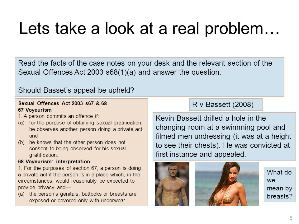 Lets take a look at a real problem… 6 Read the facts of the case notes on your desk and the relevant section of the Sexual Offences Act 2003 s68(1)(a)