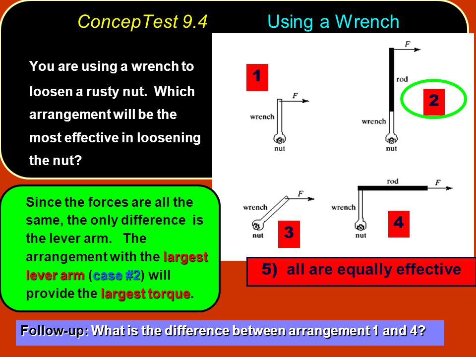 ConcepTest 9.4Using a Wrench You are using a wrench to loosen a rusty nut.