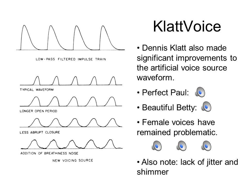 KlattTalk KlattTalk has since become the standard for formant synthesis.