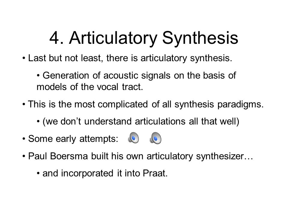Recent Developments Contemporary concatenative speech synthesizers use variable unit selection.