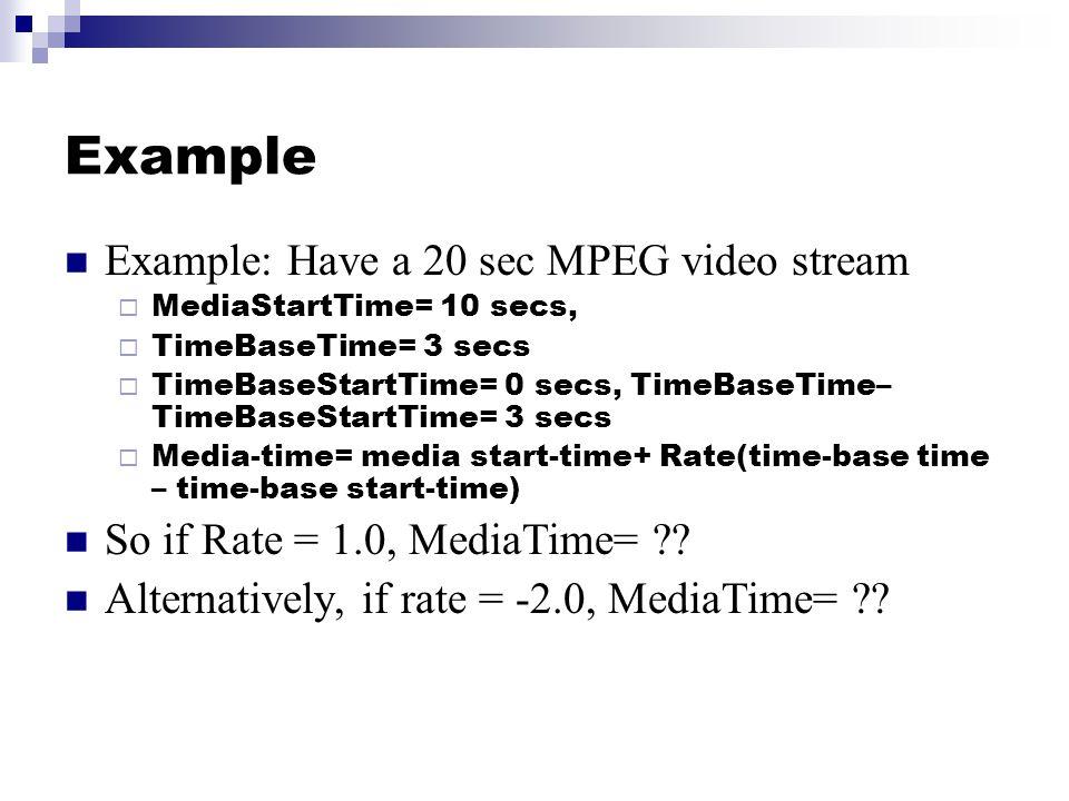 Example Example: Have a 20 sec MPEG video stream  MediaStartTime= 10 secs,  TimeBaseTime= 3 secs  TimeBaseStartTime= 0 secs, TimeBaseTime– TimeBaseStartTime= 3 secs  Media-time= media start-time+ Rate(time-base time – time-base start-time) So if Rate = 1.0, MediaTime= ?.