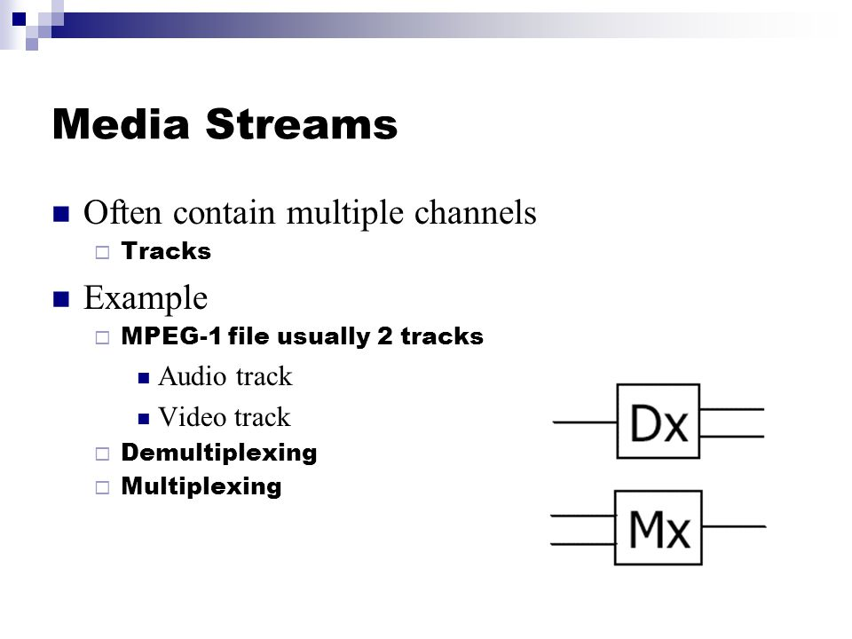 Media Streams Often contain multiple channels  Tracks Example  MPEG-1 file usually 2 tracks Audio track Video track  Demultiplexing  Multiplexing
