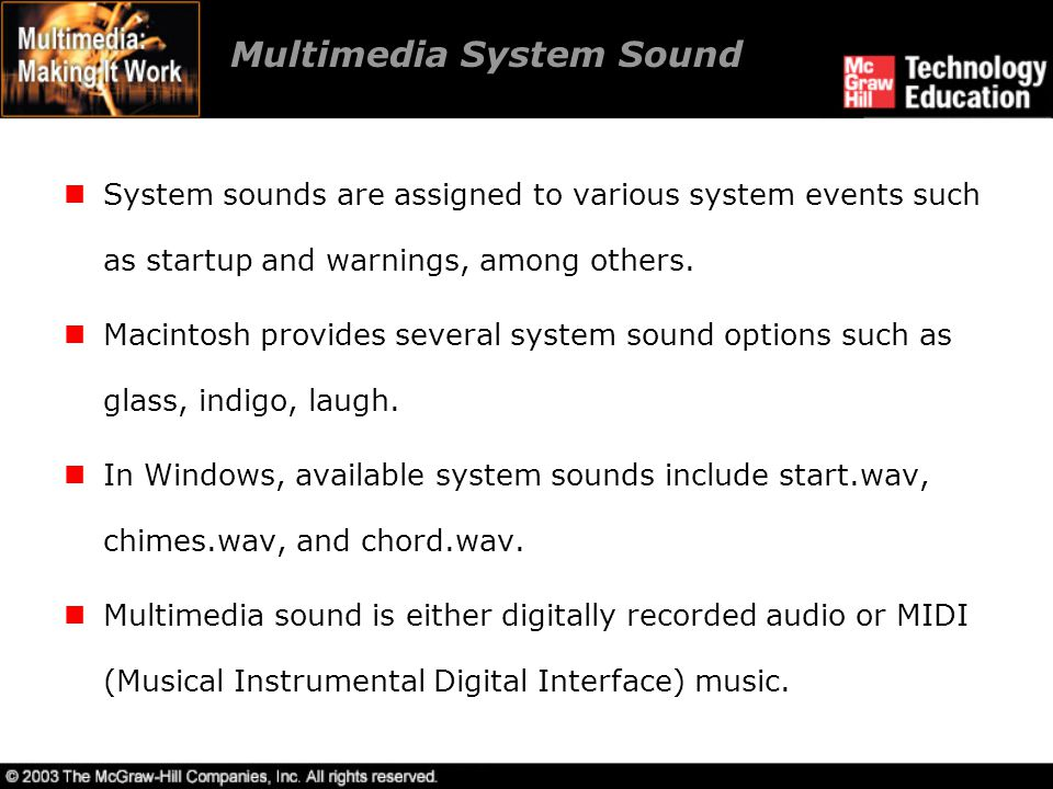 MIDI Audio MIDI is a shorthand representation of music stored in numeric form.