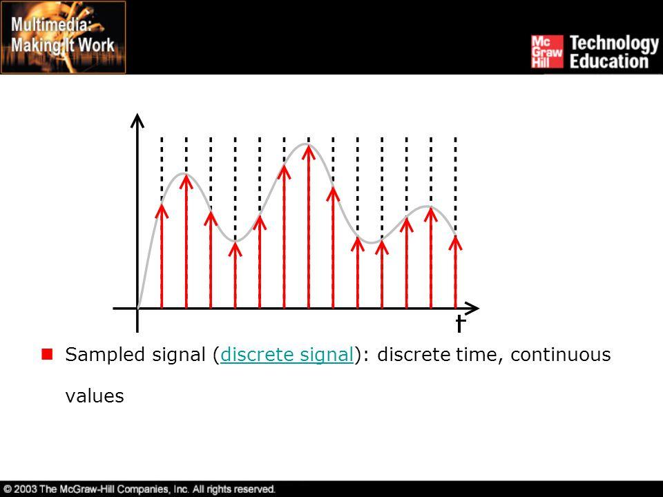 Sampled signal (discrete signal): discrete time, continuous valuesdiscrete signal