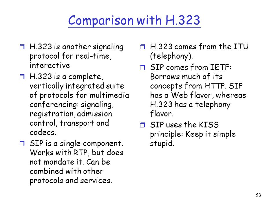 53 Comparison with H.323 r H.323 is another signaling protocol for real-time, interactive r H.323 is a complete, vertically integrated suite of protoc