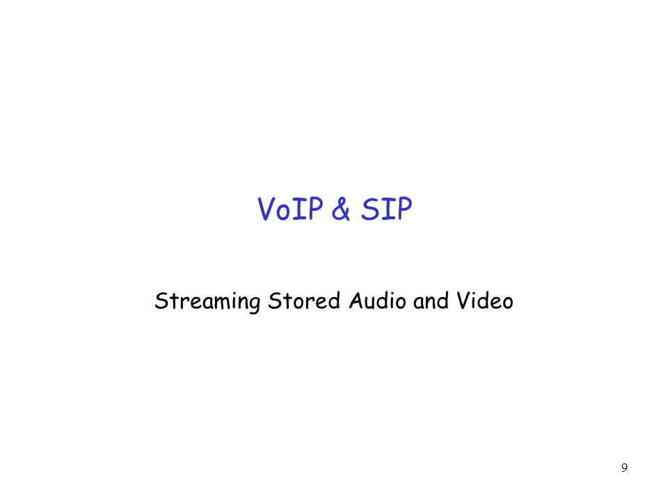 9 VoIP & SIP Streaming Stored Audio and Video