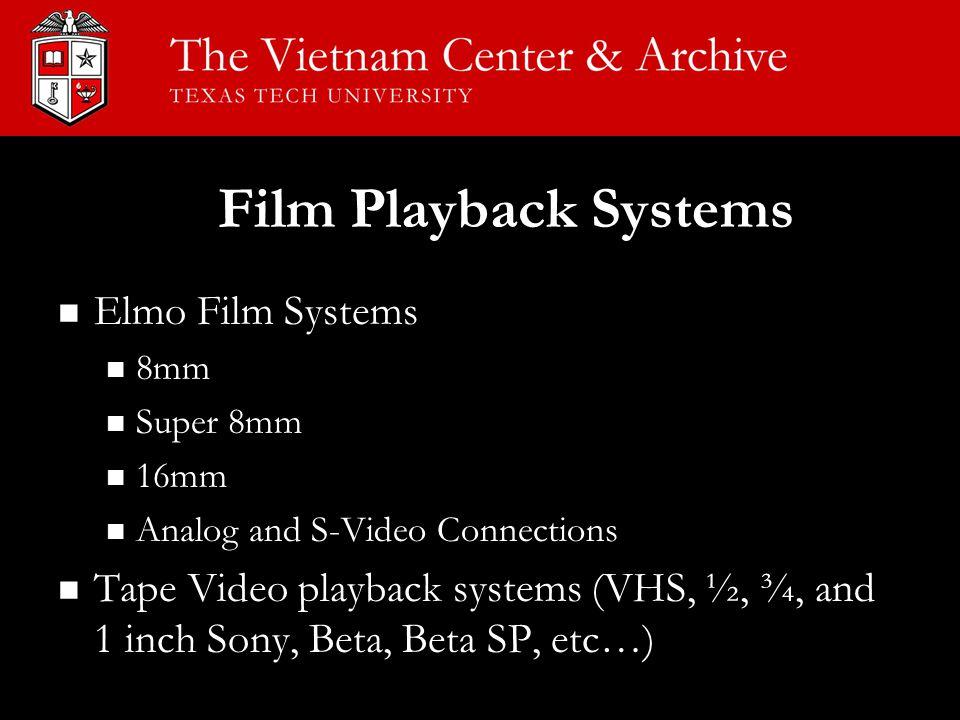 Film Playback Systems Elmo Film Systems Elmo Film Systems 8mm 8mm Super 8mm Super 8mm 16mm 16mm Analog and S-Video Connections Analog and S-Video Conn