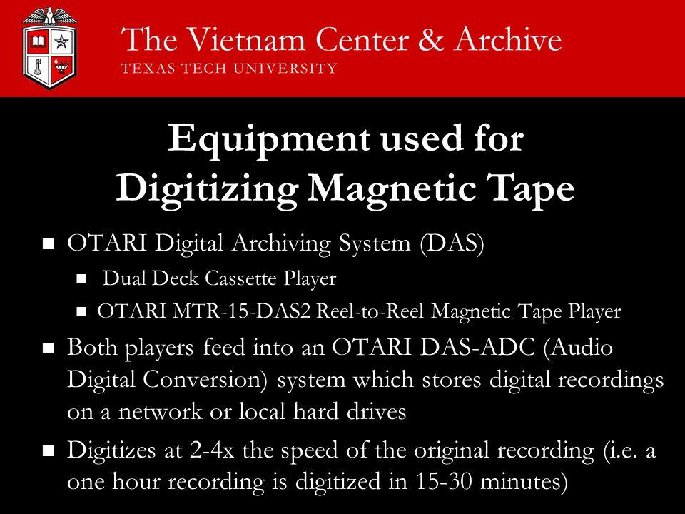 OTARI Digital Archiving System (DAS) OTARI Digital Archiving System (DAS) Dual Deck Cassette Player Dual Deck Cassette Player OTARI MTR-15-DAS2 Reel-t