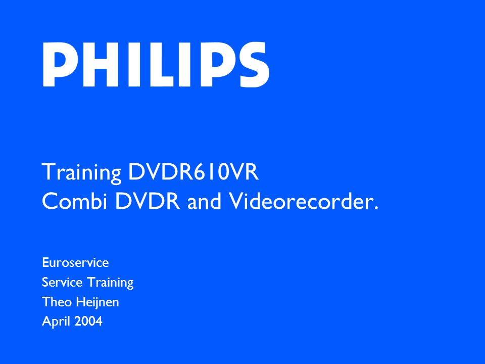 Training DVDR610VR Combi DVDR and Videorecorder.