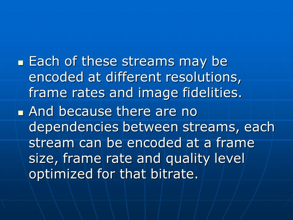 Each of these streams may be encoded at different resolutions, frame rates and image fidelities.