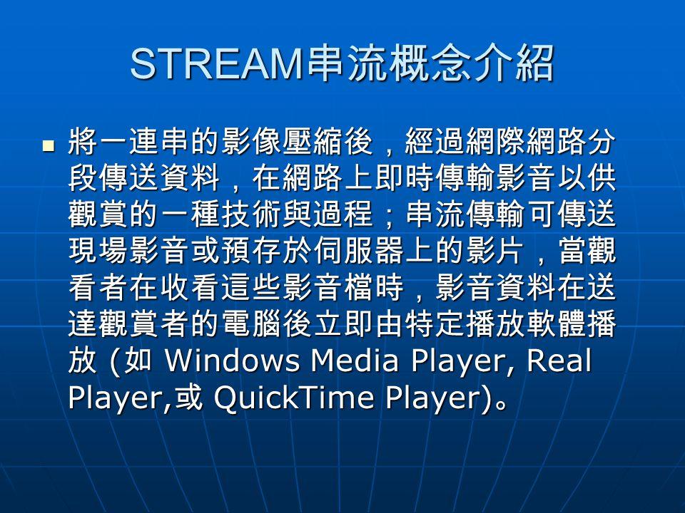 STREAM 串流概念介紹 將一連串的影像壓縮後,經過網際網路分 段傳送資料,在網路上即時傳輸影音以供 觀賞的一種技術與過程;串流傳輸可傳送 現場影音或預存於伺服器上的影片,當觀 看者在收看這些影音檔時,影音資料在送 達觀賞者的電腦後立即由特定播放軟體播 放 ( 如 Windows Media Player, Real Player, 或 QuickTime Player) 。 將一連串的影像壓縮後,經過網際網路分 段傳送資料,在網路上即時傳輸影音以供 觀賞的一種技術與過程;串流傳輸可傳送 現場影音或預存於伺服器上的影片,當觀 看者在收看這些影音檔時,影音資料在送 達觀賞者的電腦後立即由特定播放軟體播 放 ( 如 Windows Media Player, Real Player, 或 QuickTime Player) 。