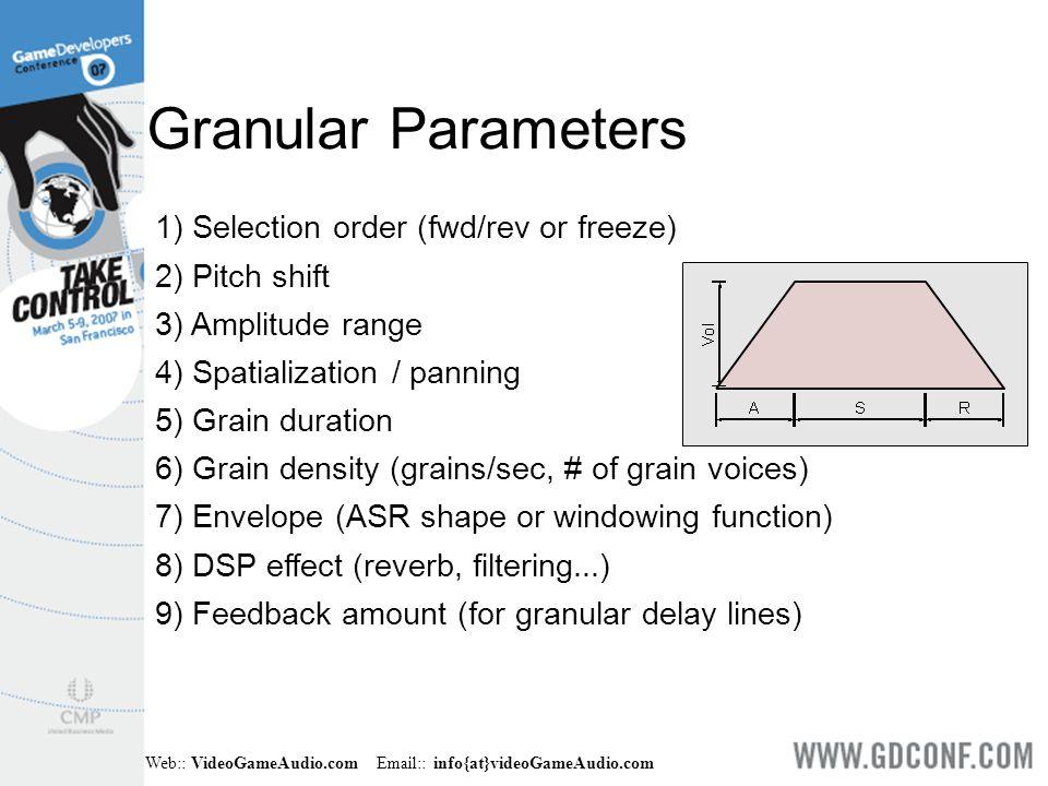 Web:: VideoGameAudio.com Email:: info{at}videoGameAudio.com 1) Selection order (fwd/rev or freeze) 2) Pitch shift 3) Amplitude range 4) Spatialization