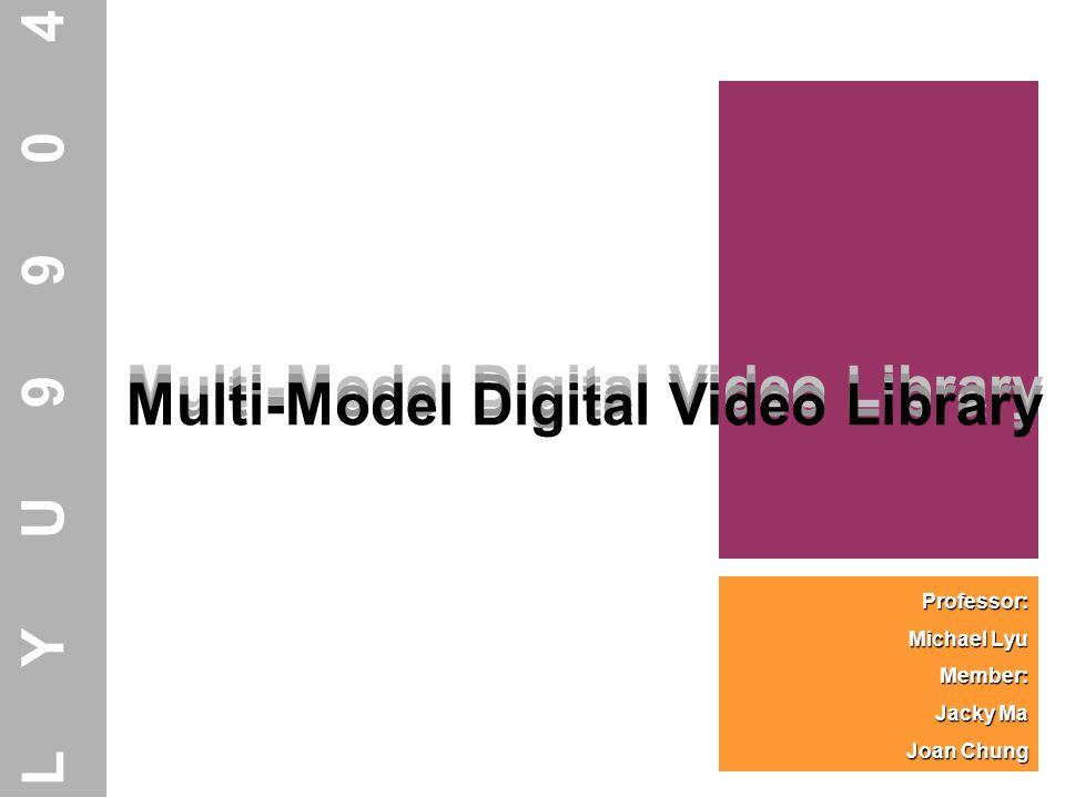 Multi-Model Digital Video Library Professor: Michael Lyu Member: Jacky Ma Joan Chung Multi-Model Digital Video Library LYU9904 Multi-Model Digital Vid
