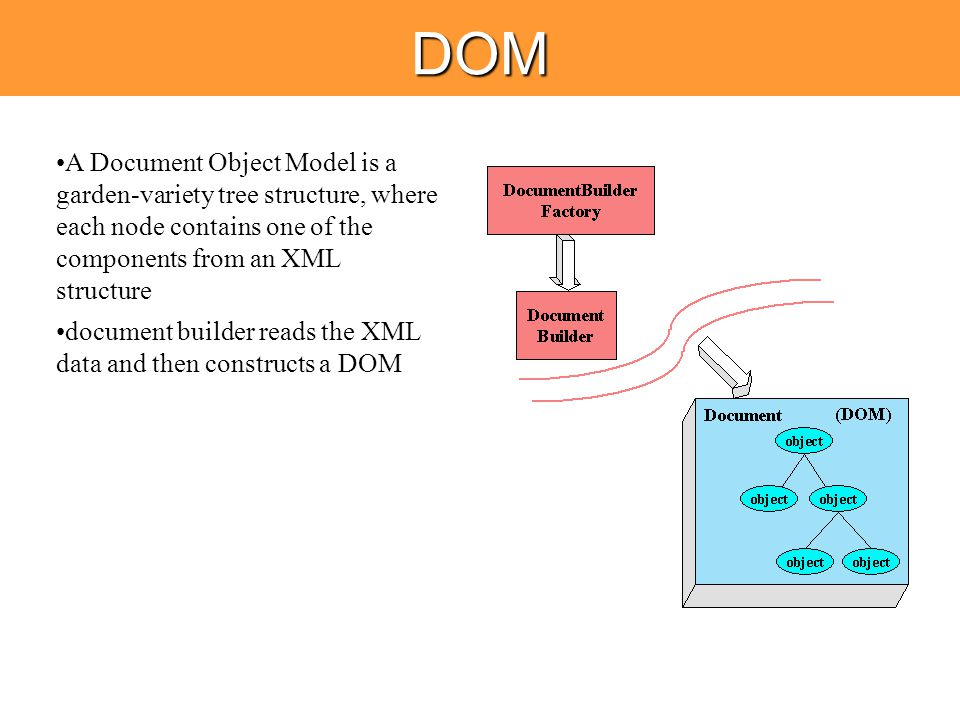 DOM A Document Object Model is a garden-variety tree structure, where each node contains one of the components from an XML structure document builder reads the XML data and then constructs a DOM