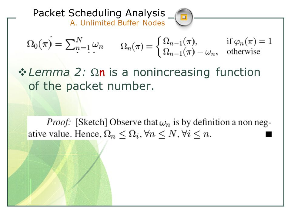  Lemma 2: Ω n is a nonincreasing function of the packet number.