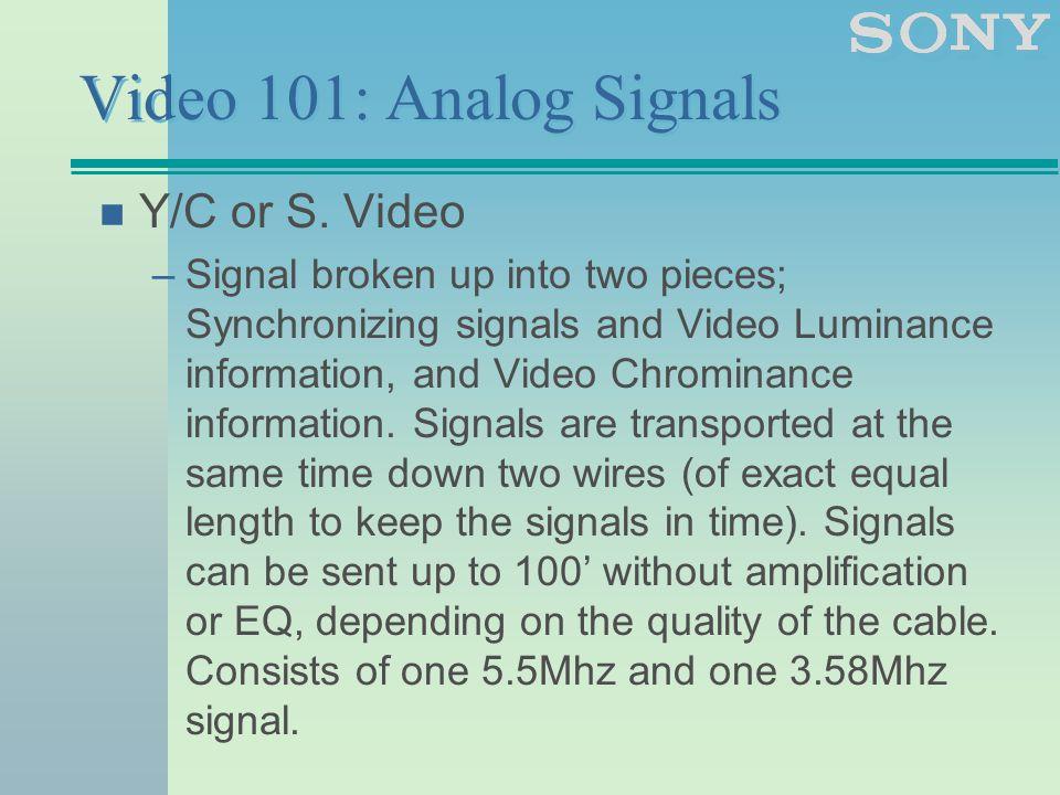 Video 101: Analog Signals n Y/C or S.