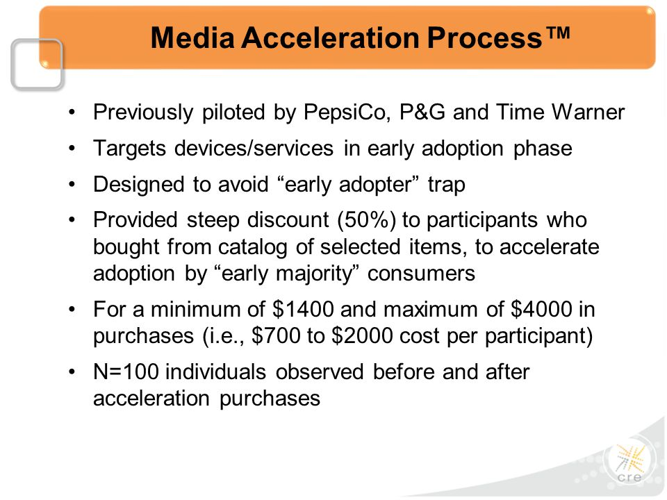 Previously piloted by PepsiCo, P&G and Time Warner Targets devices/services in early adoption phase Designed to avoid early adopter trap Provided steep discount (50%) to participants who bought from catalog of selected items, to accelerate adoption by early majority consumers For a minimum of $1400 and maximum of $4000 in purchases (i.e., $700 to $2000 cost per participant) N=100 individuals observed before and after acceleration purchases Media Acceleration Process™