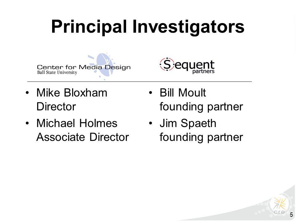 Principal Investigators Mike Bloxham Director Michael Holmes Associate Director Bill Moult founding partner Jim Spaeth founding partner 5