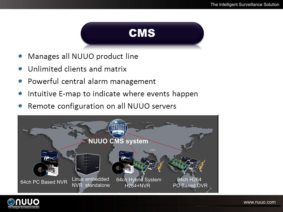 Manages all NUUO product line Unlimited clients and matrix Powerful central alarm management Intuitive E-map to indicate where events happen Remote co