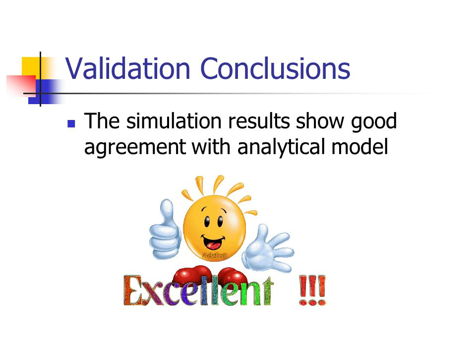 Validation Conclusions The simulation results show good agreement with analytical model