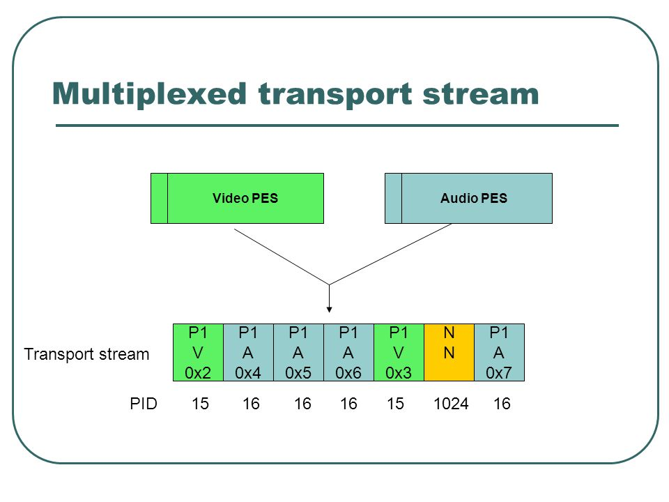Multiplexed transport stream P1 V 0x2 P1 A 0x4 P1 A 0x5 P1 A 0x6 P1 V 0x3 NNNN P1 A 0x7 PID15 16 16 16 15 1024 16 Video PES Audio PES Transport stream