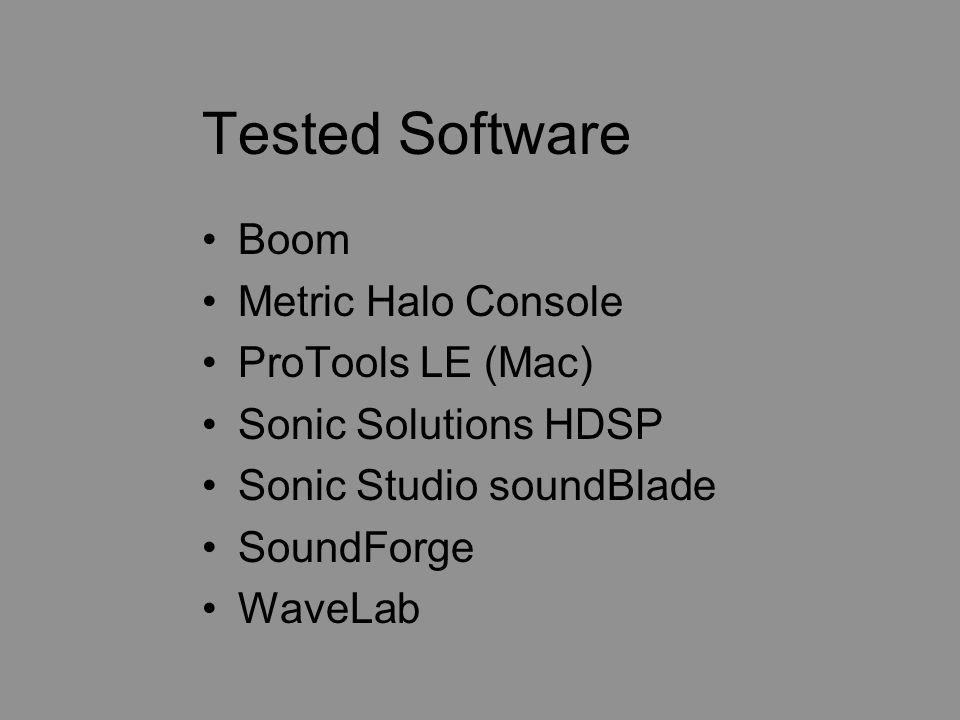 Tested OS Mac OS9 Mac OS X Windows 98 Windows Home Windows ME