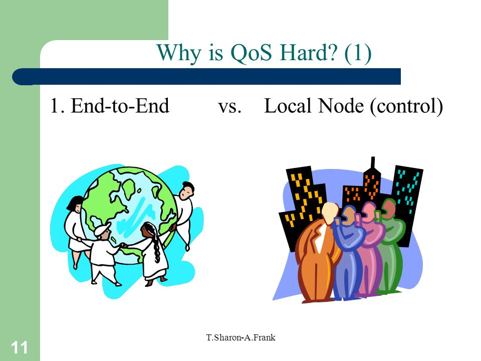 11 T.Sharon-A.Frank Why is QoS Hard (1) 1. End-to-End vs. Local Node (control)