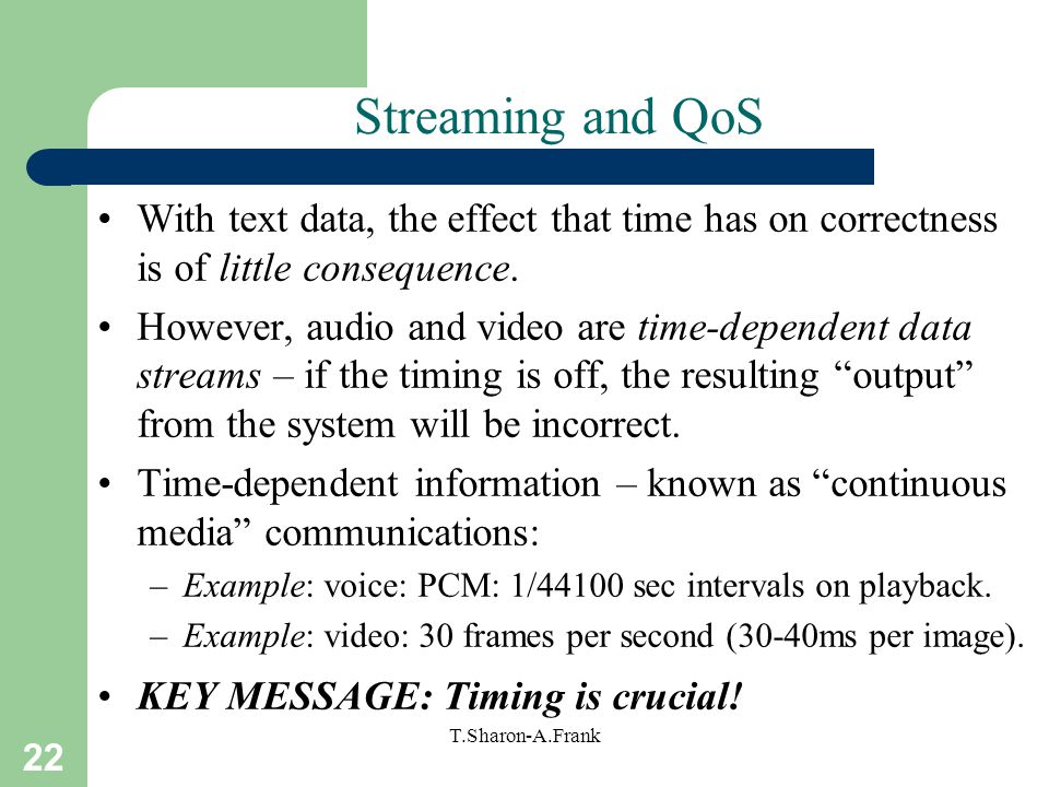 22 T.Sharon-A.Frank Streaming and QoS With text data, the effect that time has on correctness is of little consequence.