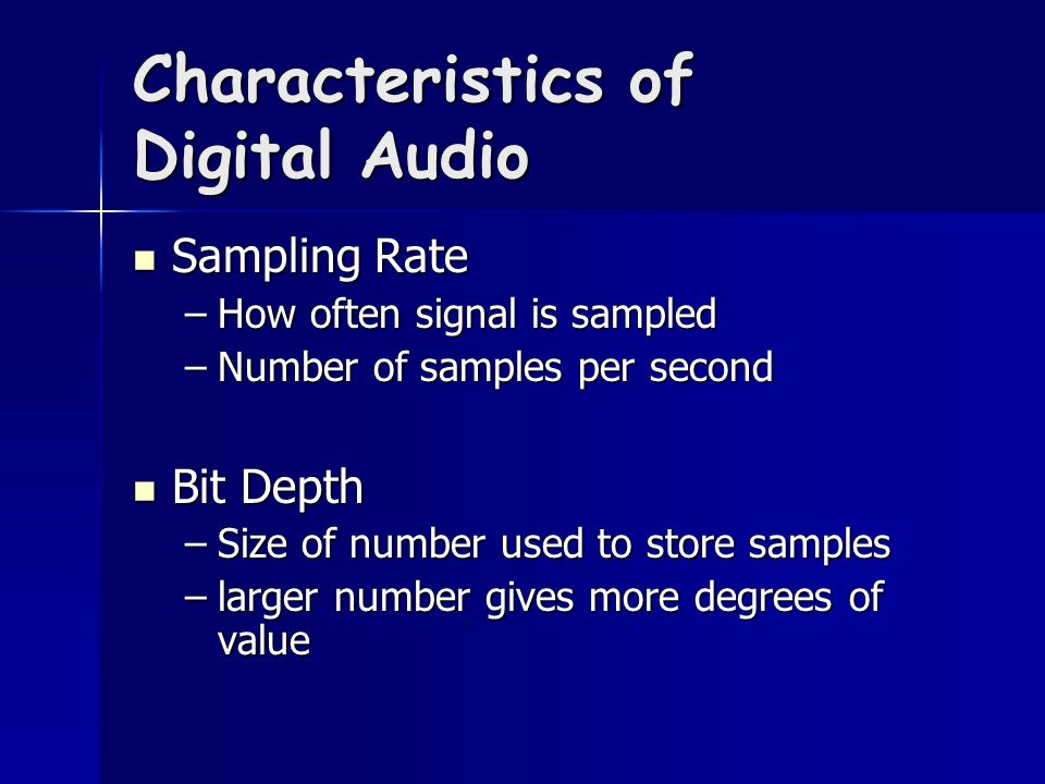Effects = Filters Effects are created by filter combinations Effects are created by filter combinations Filtering involves combining original signal with delayed version Filtering involves combining original signal with delayed version Higher internal processing bit rate means more accurate arithmetic Higher internal processing bit rate means more accurate arithmetic