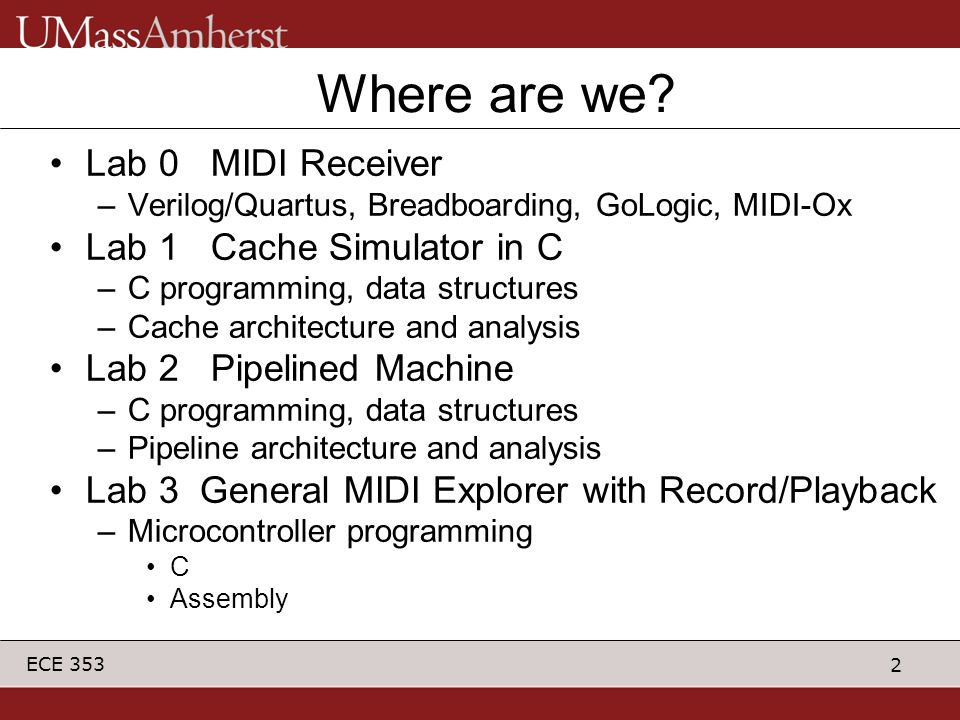 3 ECE 353 Objectives Exposure to microcontroller programming –Assembly Language (ASM) Talking to A/D converter Talking to Timer Talking to UART –Compiled Language (C) Data Structure in Memory Talking to UART Continuation of MIDI theme –Serial communication –Notes and instruments FUN.